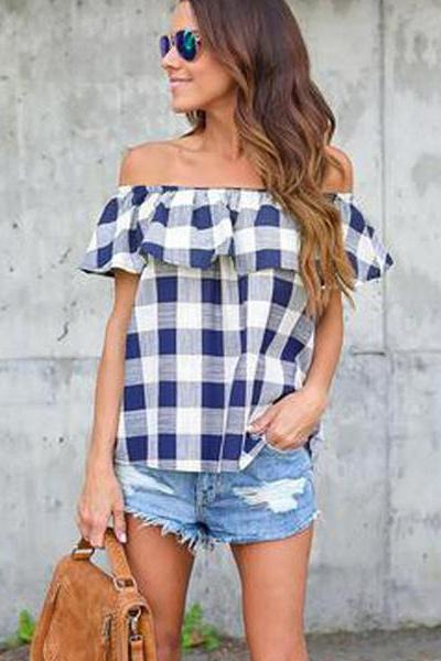 Geva Plaid Off Shoulder Top