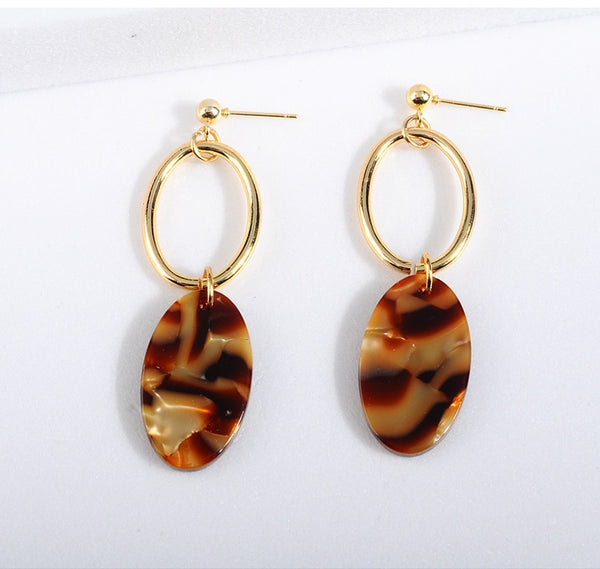 Vintage Leopard Oval Earrings