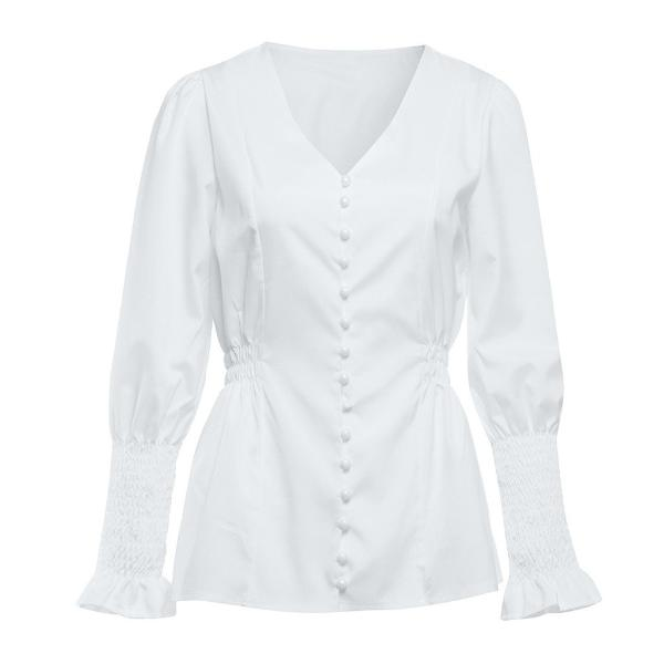 Adelfa Shirred White Shirt