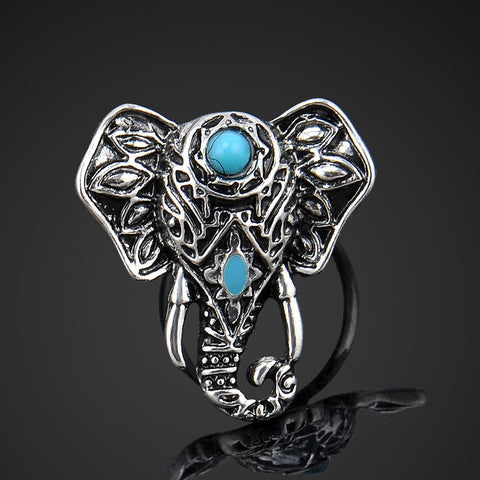 Turquoise Silver Elephant Ring, Rings, lovepeaceboho, lovepeaceboho