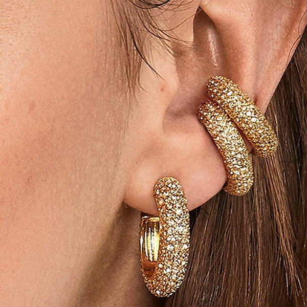 Brincos Crystal Ear Cuff