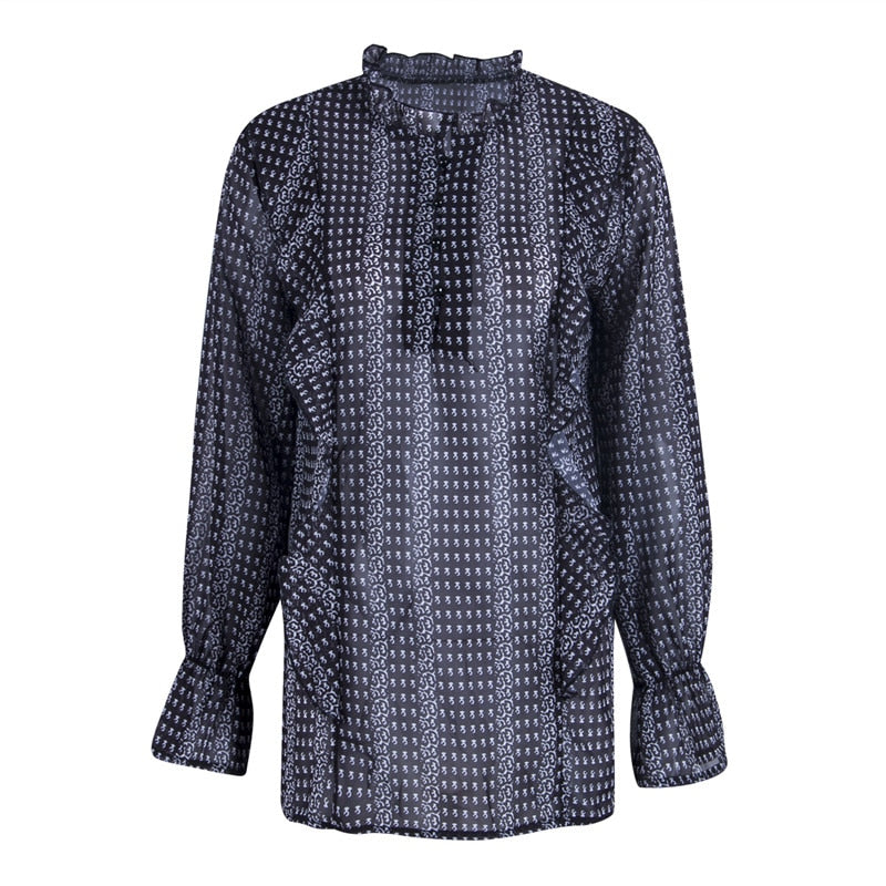 Yva Long Sleeve Retro Blouse