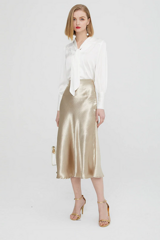 Romina Textured Satin Skirt