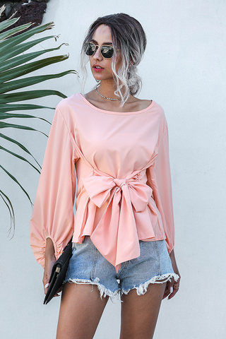 Stars Balloon Sleeve Tie Blouse