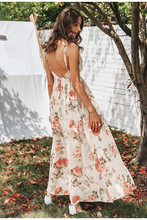 Load image into Gallery viewer, Rosette Open Back Maxi Dress