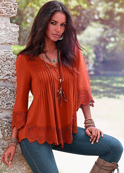 Lace and Button Blouse
