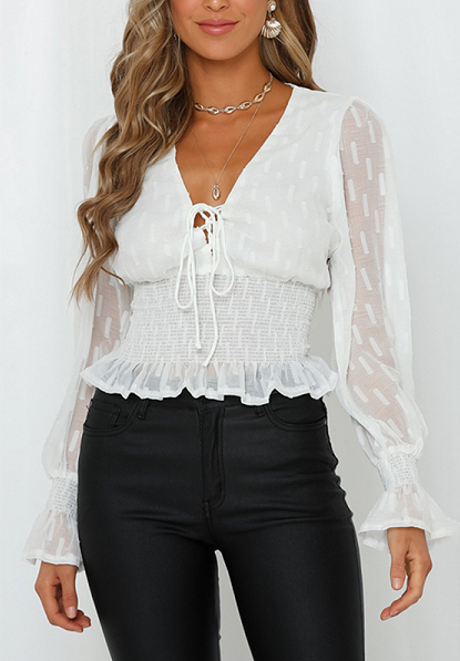 Tatum Lace Up White Top