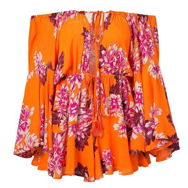 Carlyn Orange Floral Romper