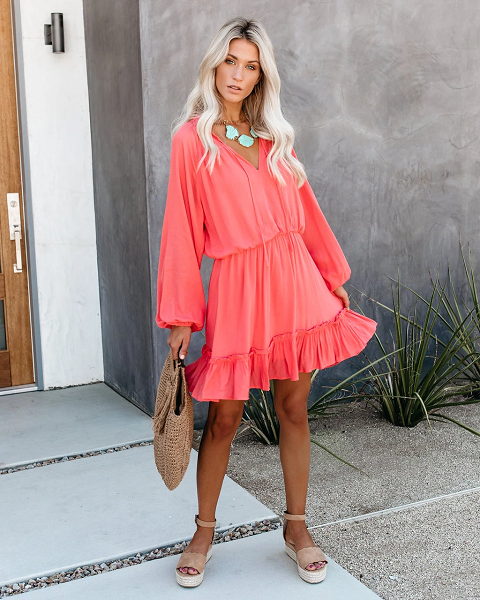 Ylac Ruffled Hem Mini Dress