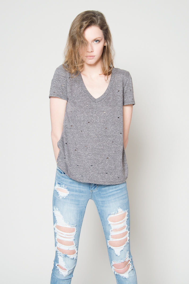 Casual friday distressed tee, Tops