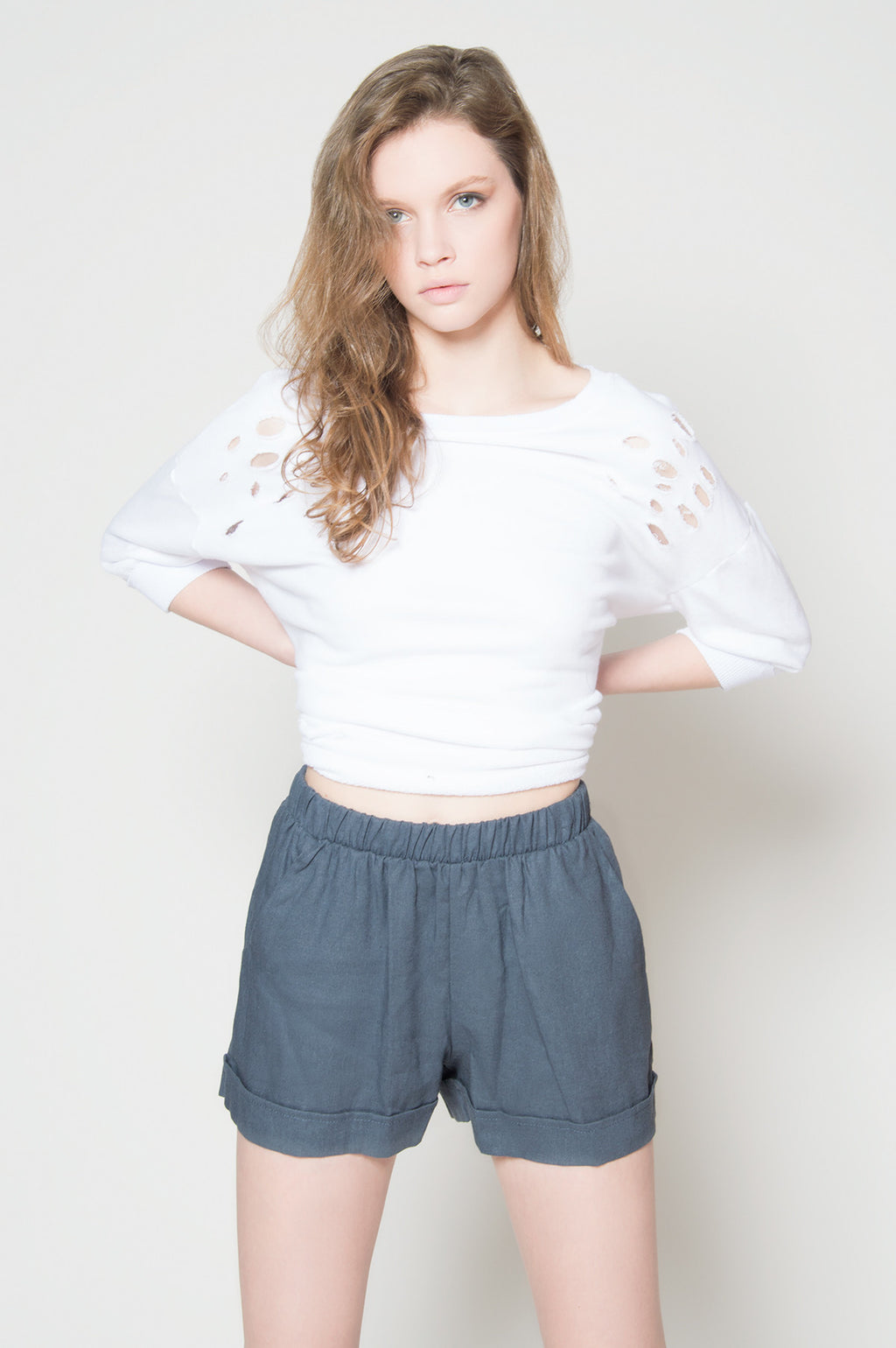 Shabby chic linen cuff shorts, Bottoms