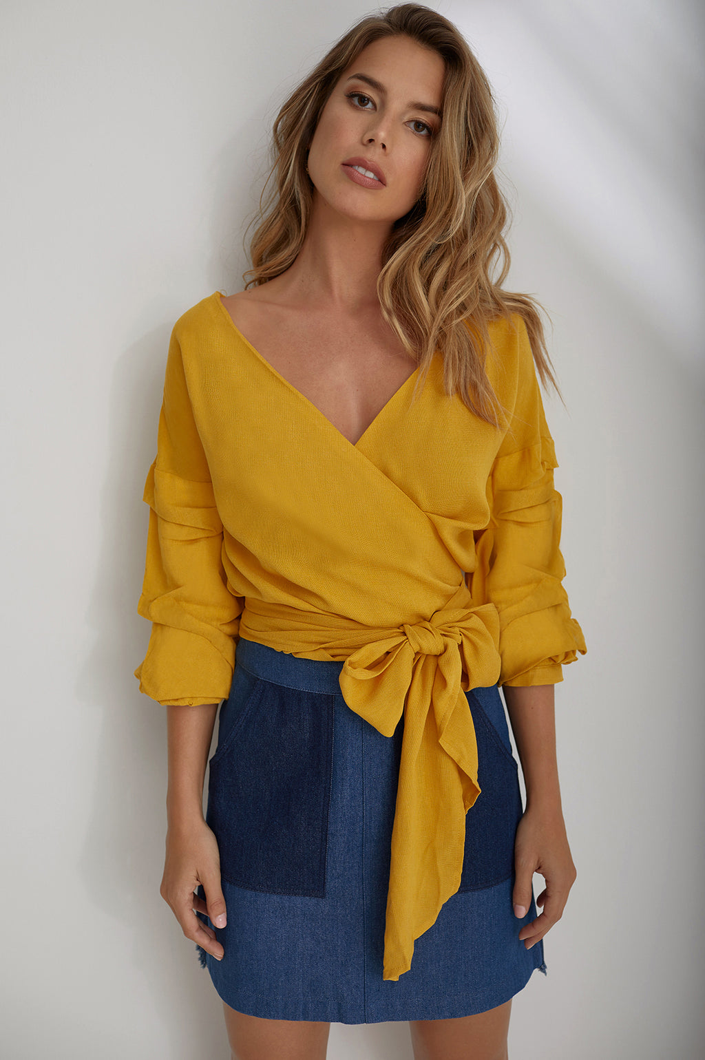 Pop of color ruched sleeve top