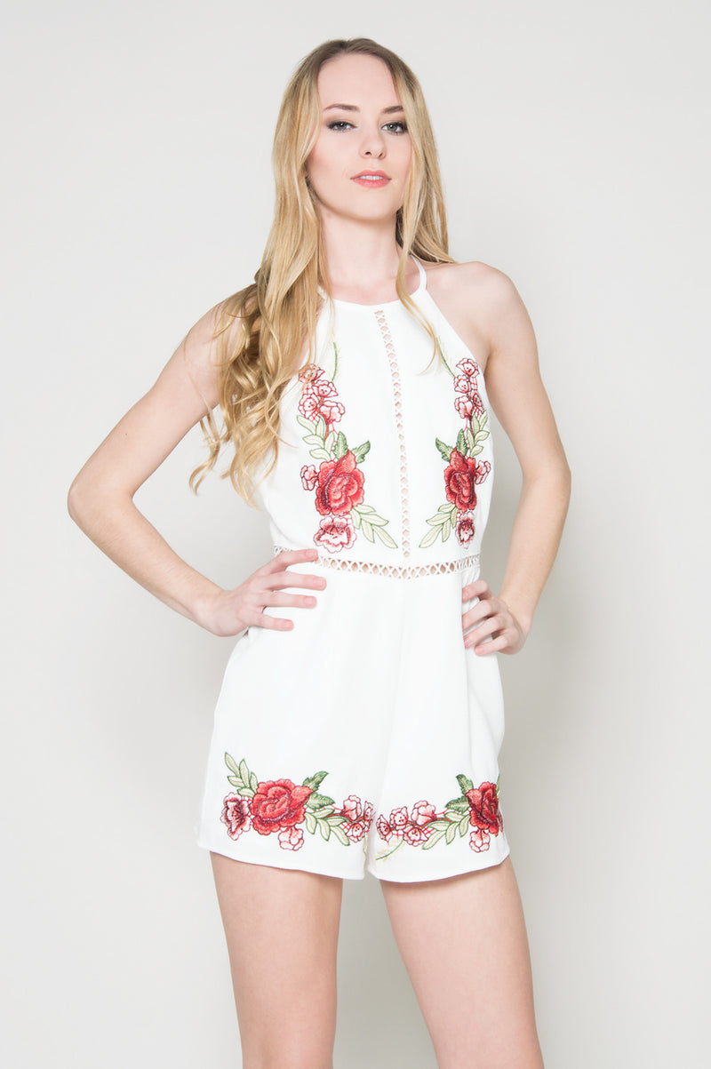 white romper pants Eden embroidered halter romper dress