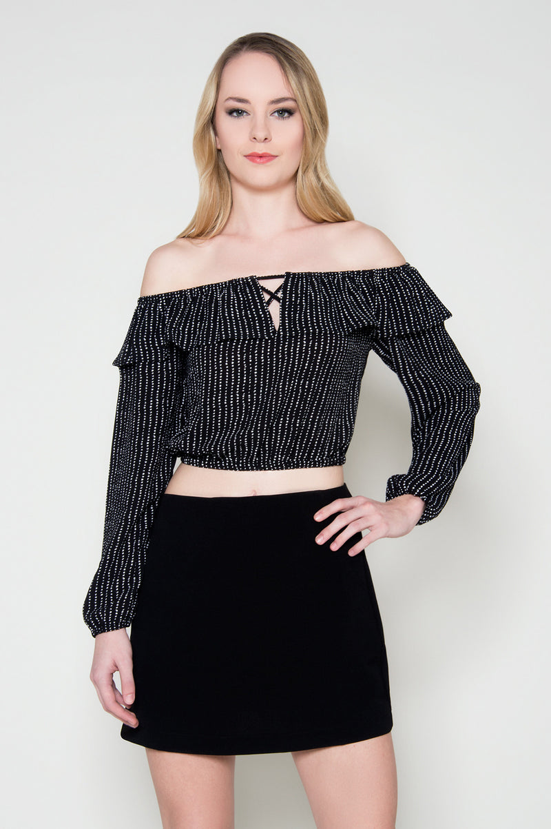 Catch my eye off shoulder crop top black dressy Tops modern party going out top