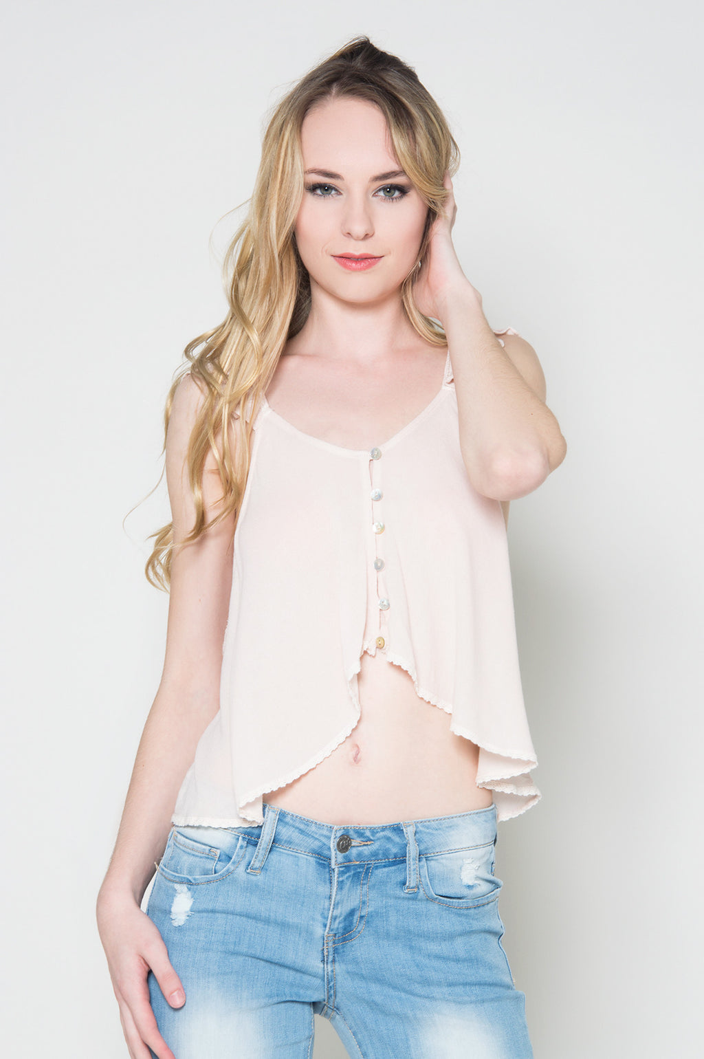 Daydream button front crop top white loose crop top