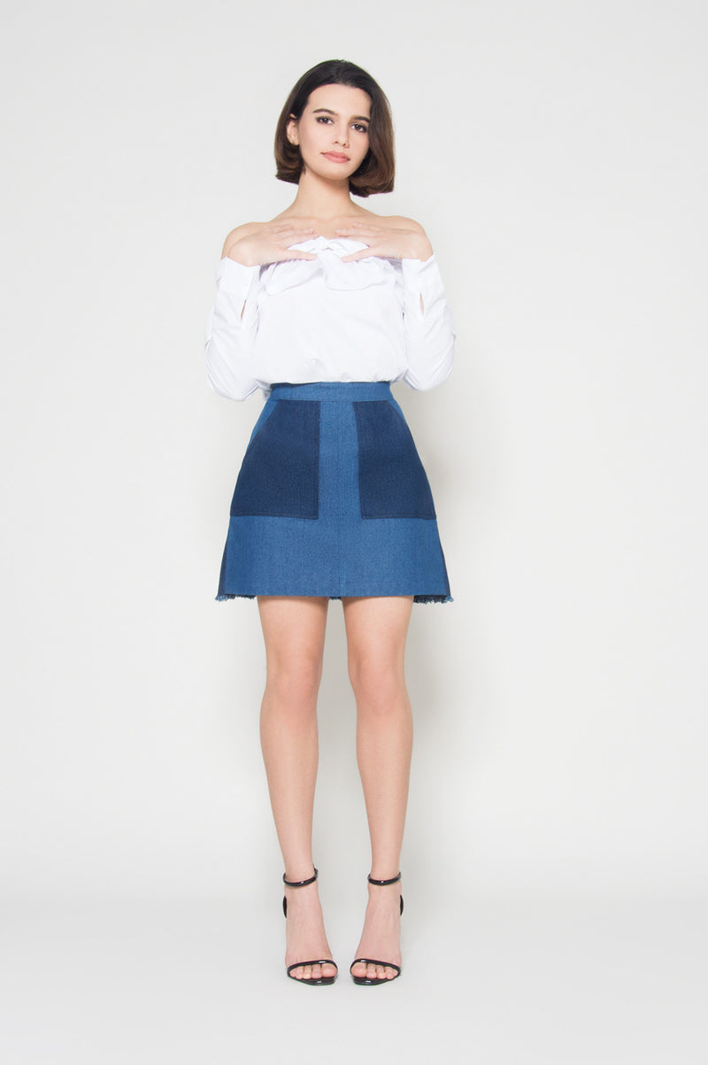 Long time crush color block denim skirt, Bottoms