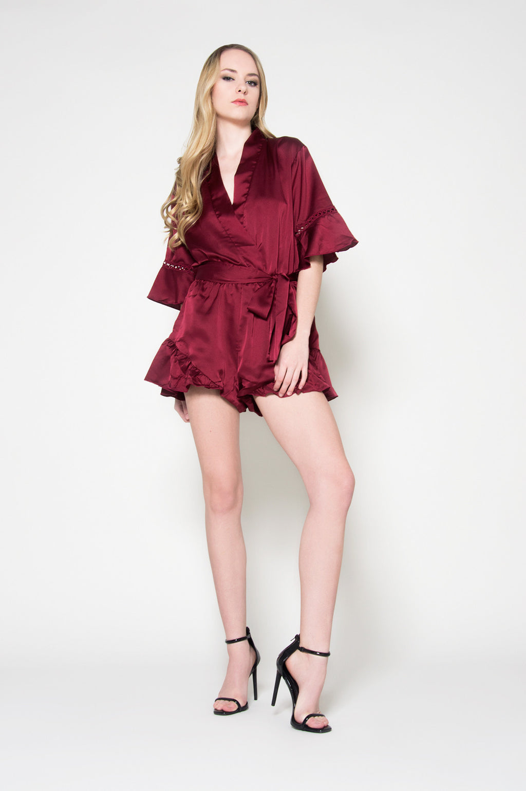 Wrapped in love satin romper, Rompers