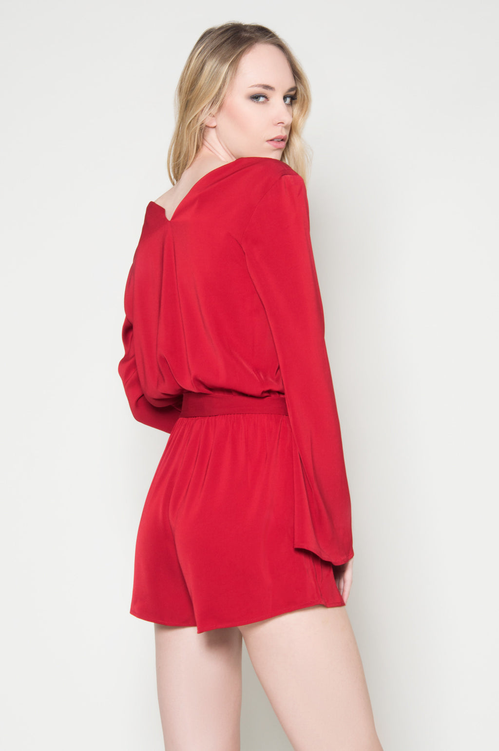 red romper shorts long sleeve Valentina bell sleeve romper