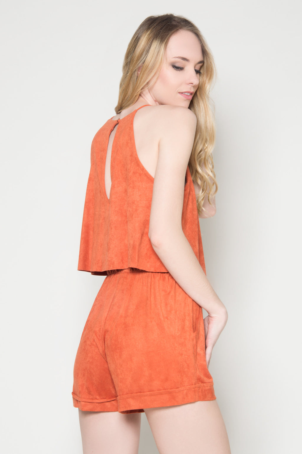 Foxy faux suede double layer romper fancy rompers cute rompers for summer