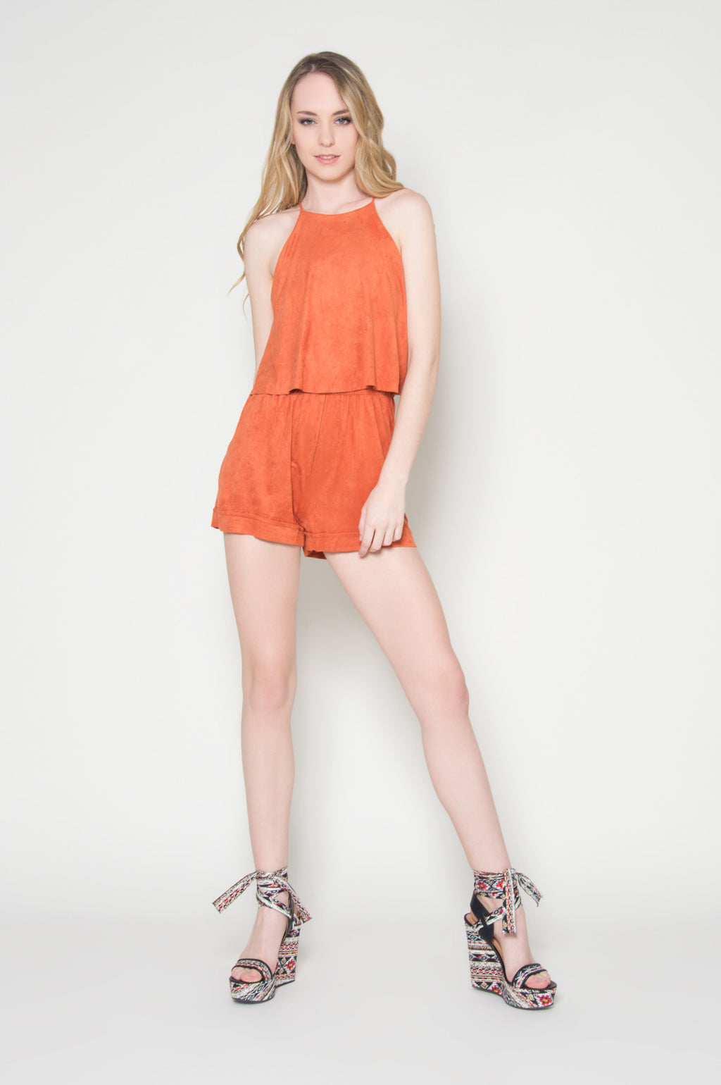 Foxy faux suede double layer romper, Rompers