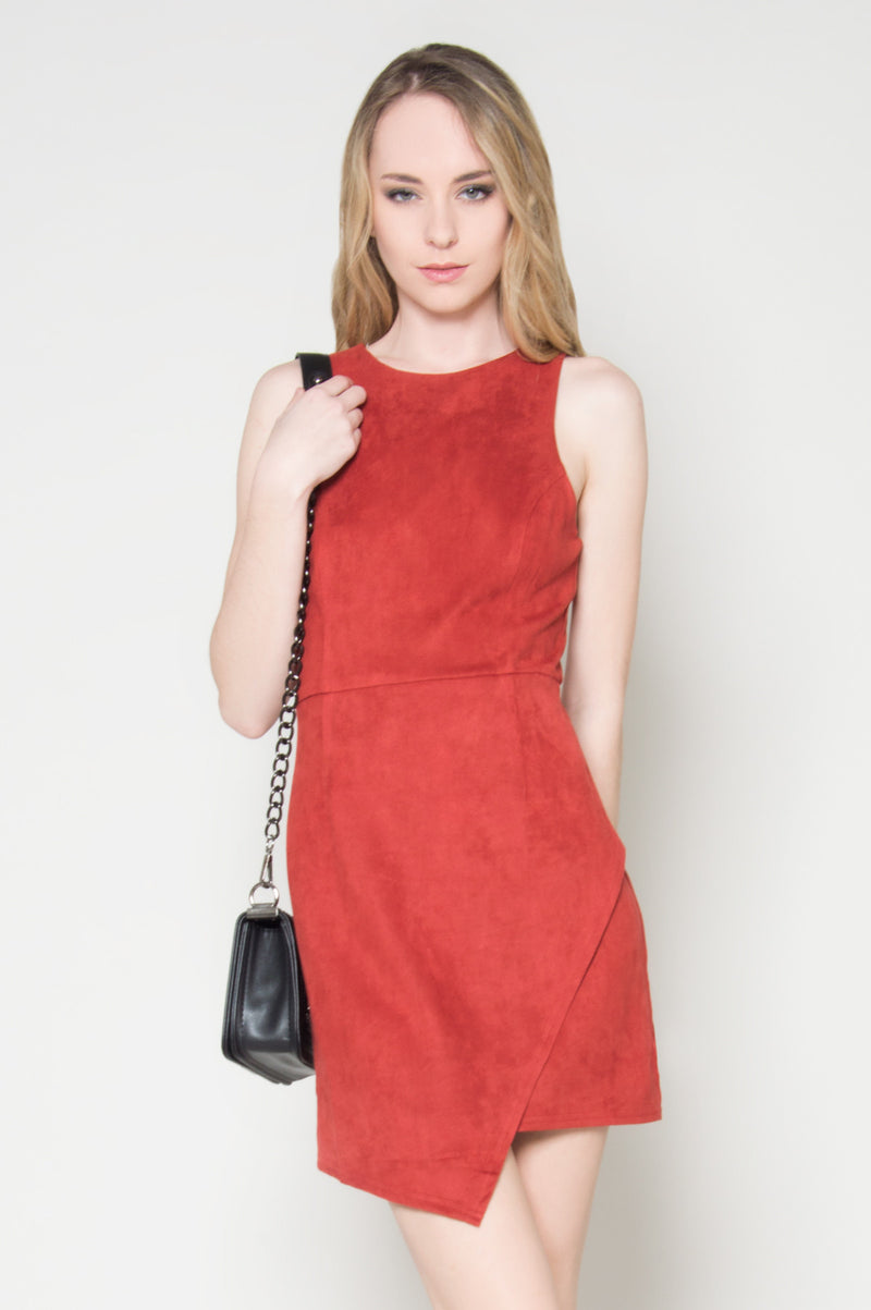 Class A faux suede asymmetrical dress, Dresses