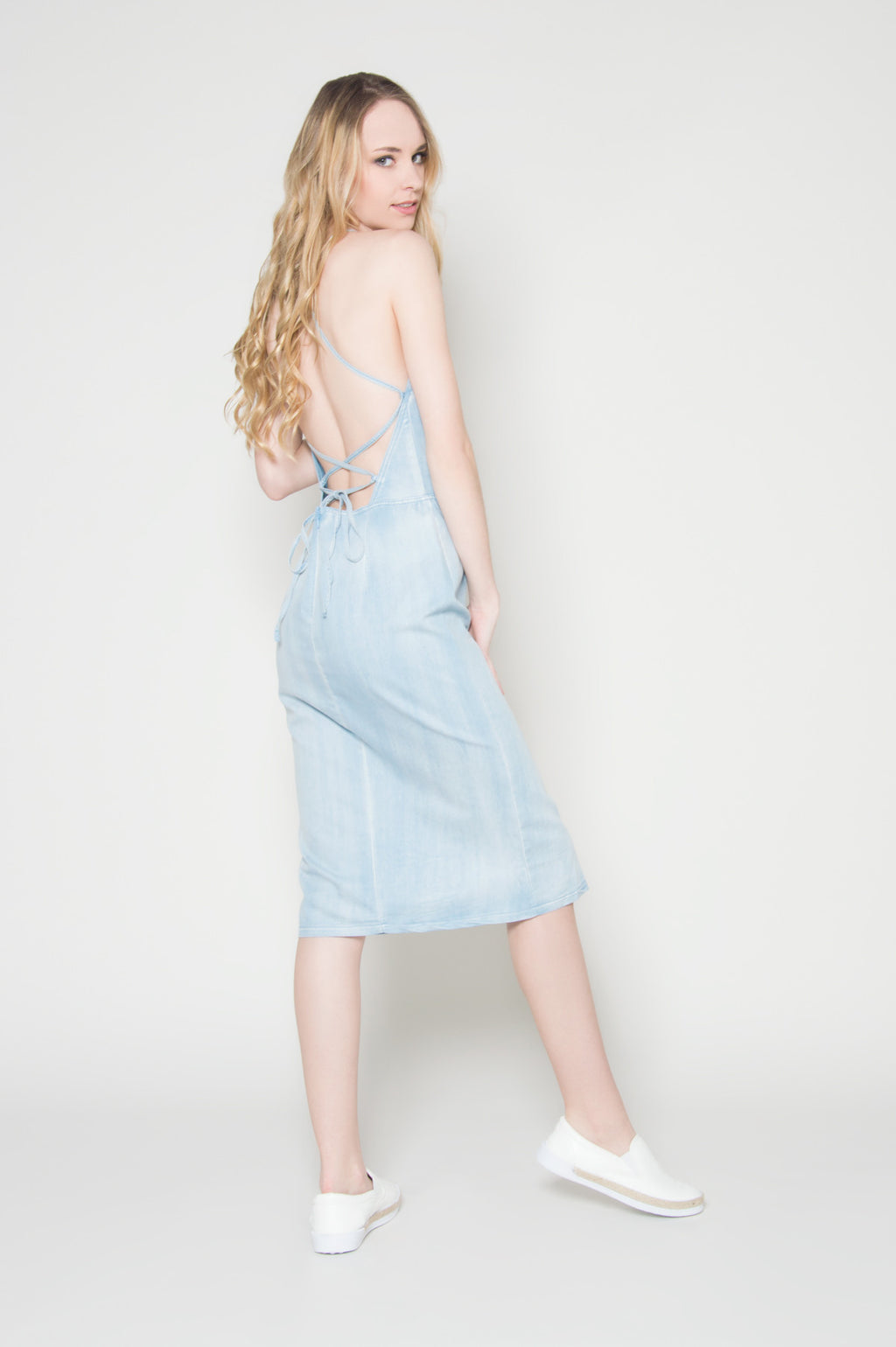 All tied up lace up denim dress, Dresses