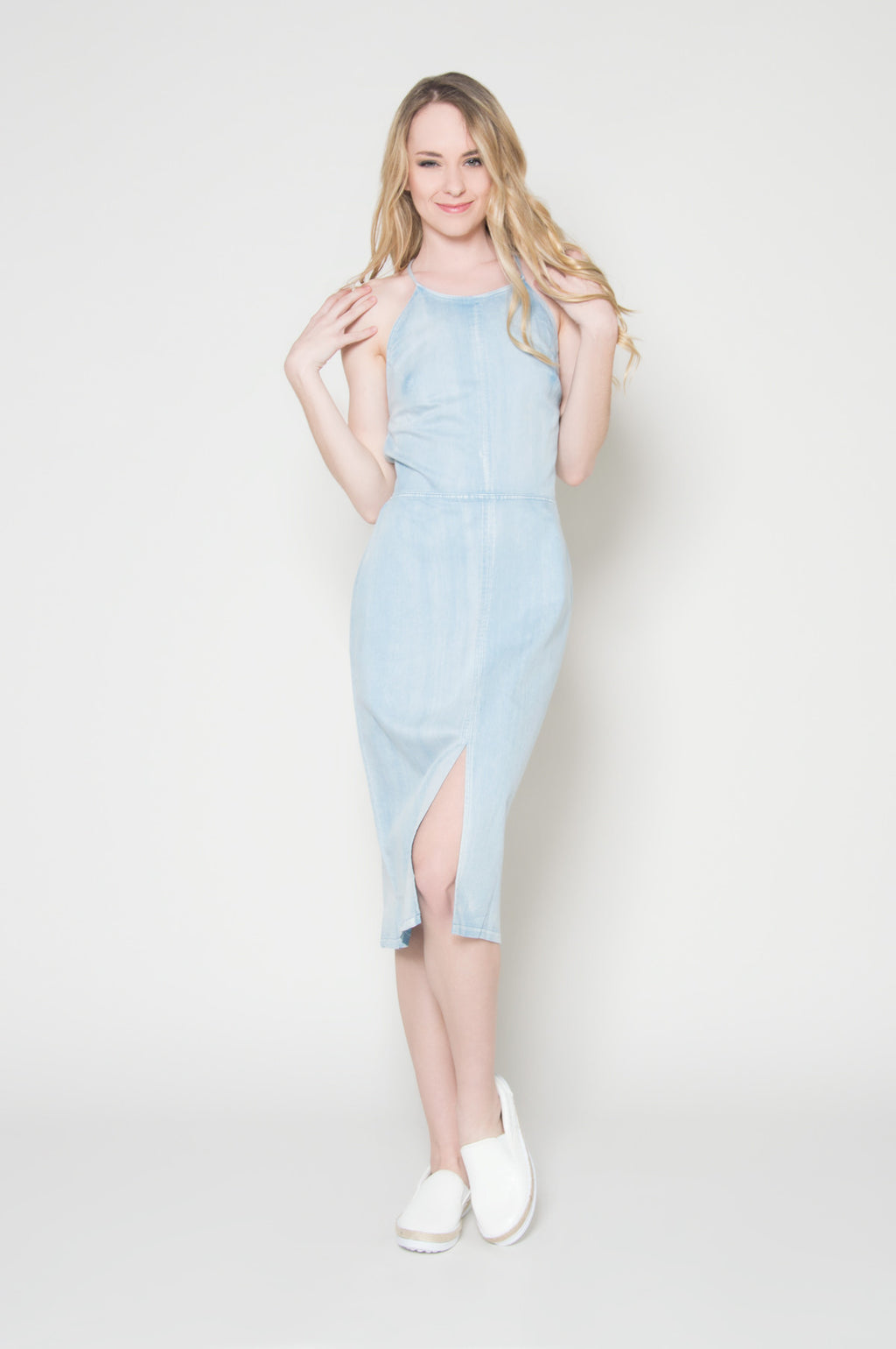 All tied up denim lace up dress blue midi dresses cheap