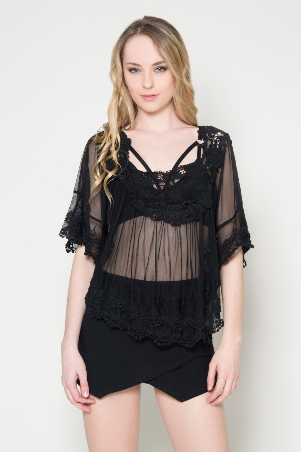 Clear desire crochet poncho top black dressy tops cheap party blouses