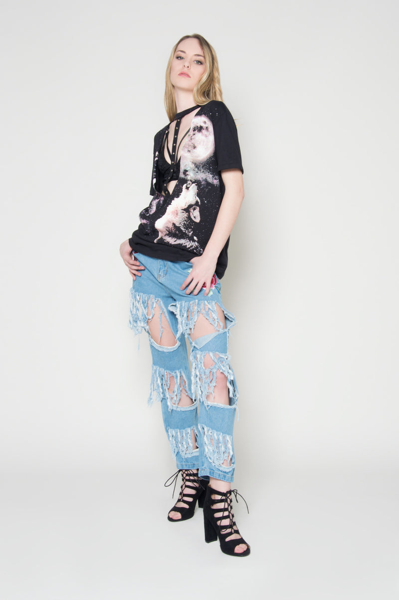 Riot girl rose denim, Bottoms