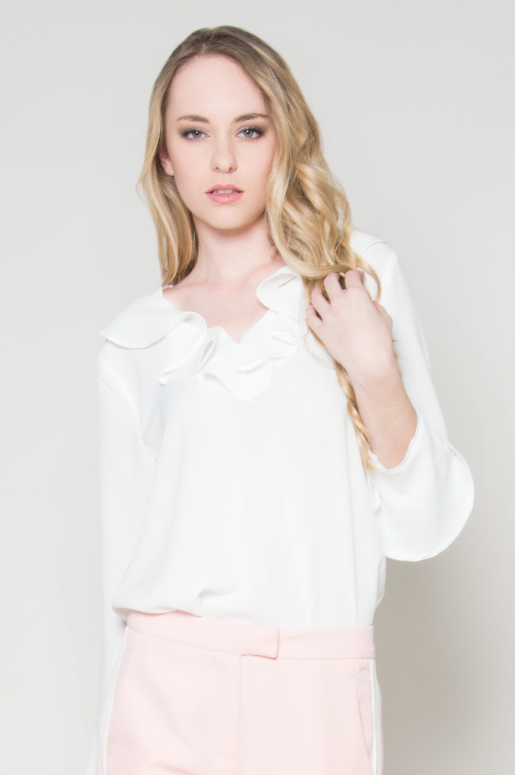 white long sleeve blouse for women party dressy tops