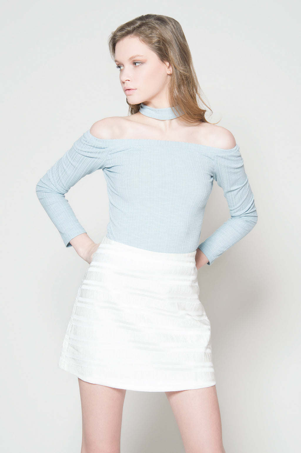 Make a splash choker off shoulder, Tops