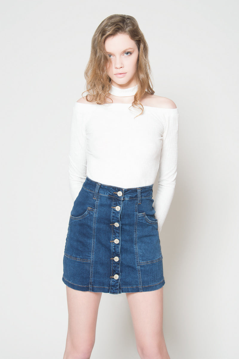 Hit the mark button up denim skirt