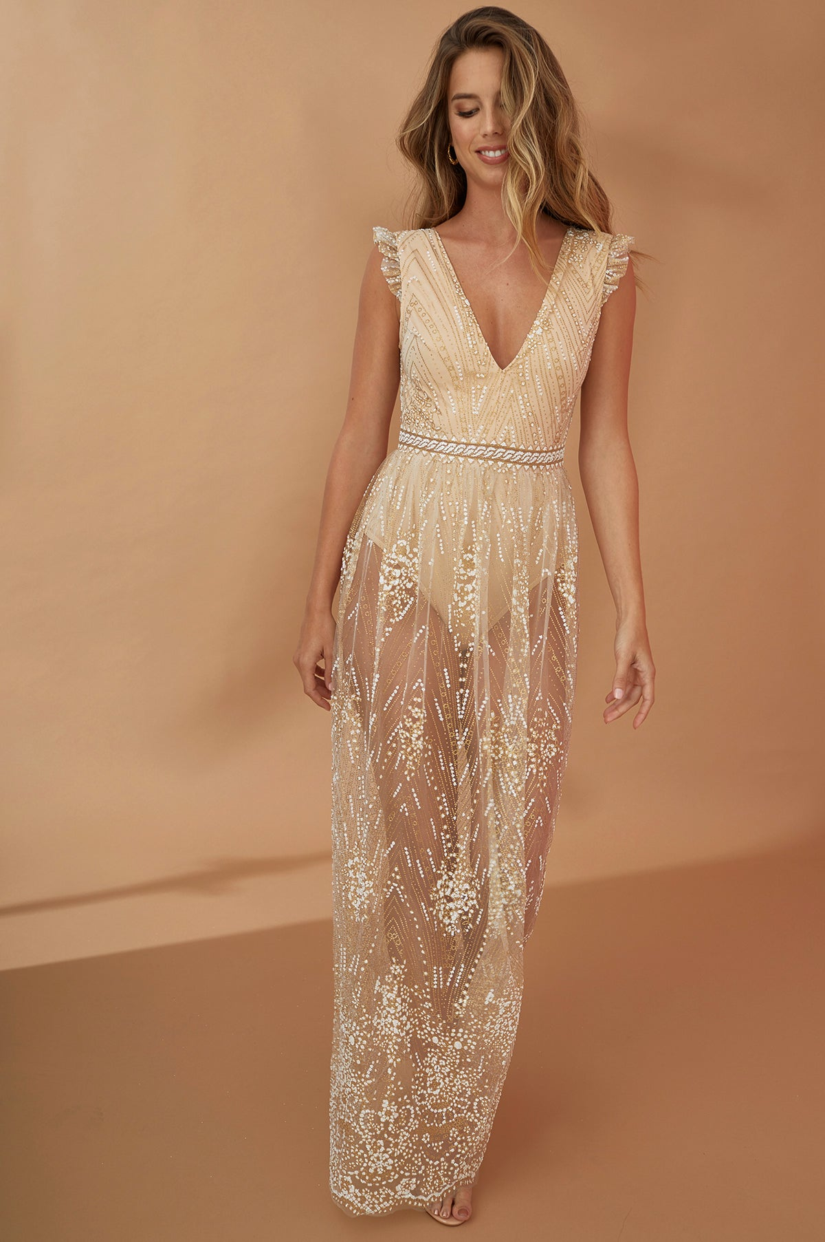 Maxi Dress with Sheer