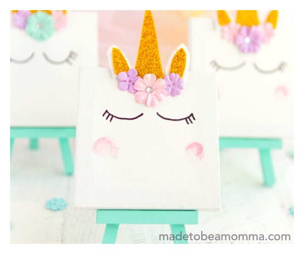 Super cute unicorn craft project ideas to do with the kids while sheltering in place during quarantine diy arts and crafts magical rainbow paint canvas flower girly pastels