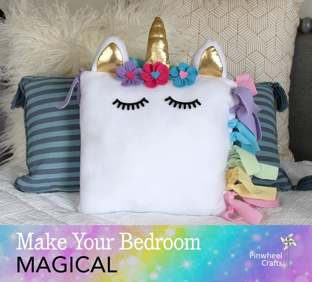 Super cute unicorn craft project ideas to do with the kids while sheltering in place during quarantine diy arts and crafts magical rainbow pillow sewing fibers decor decoration bedroom stuffed toy no-sew