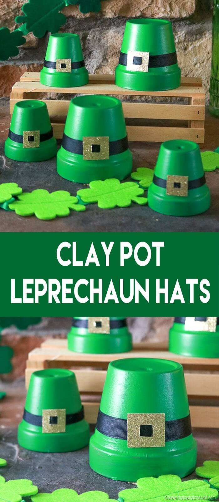 "Gardening pots turned upside down, painted green, and a black and gold buckle belt made of felt wrapped around. Text overlay with white on green background reads ""Clay Pot Leprechaun Hats."""
