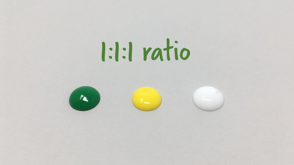 Mixing ratios of paint showing equal parts green yellow and white
