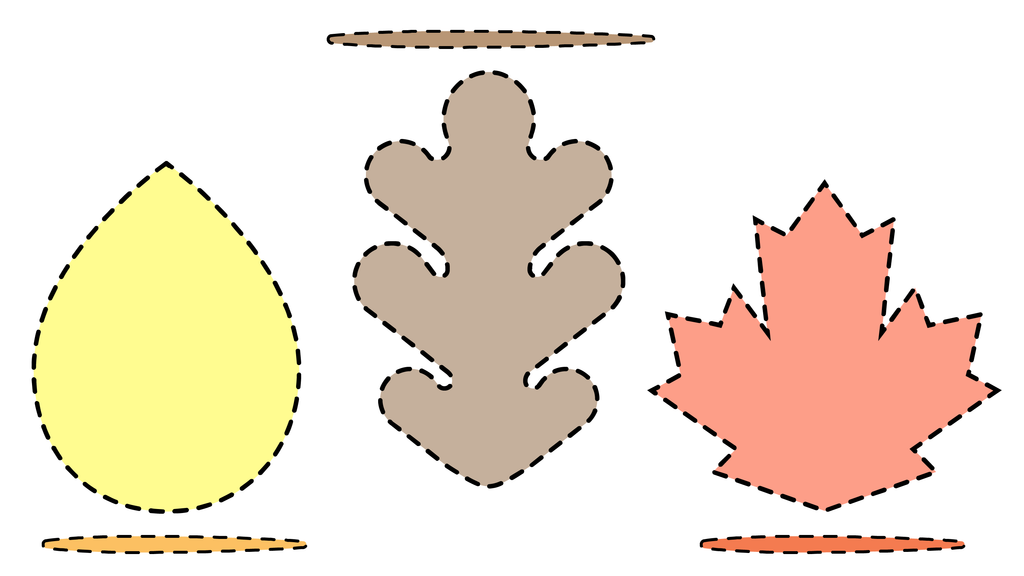printable template for fall-themed leaf bookmark gifts made using felt, thread, and jumbo possible sticks