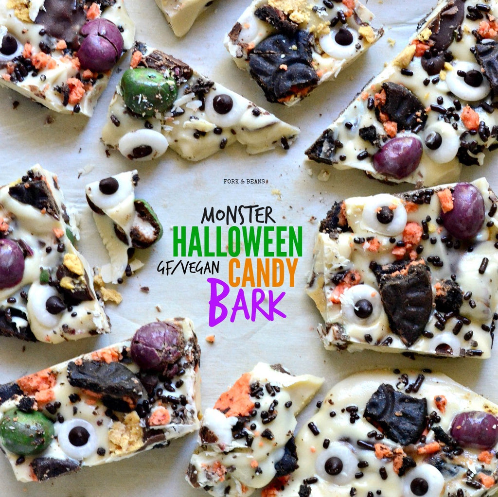 Sweet and savory Halloween candy bark that is vegan friendly for serving to your party guests