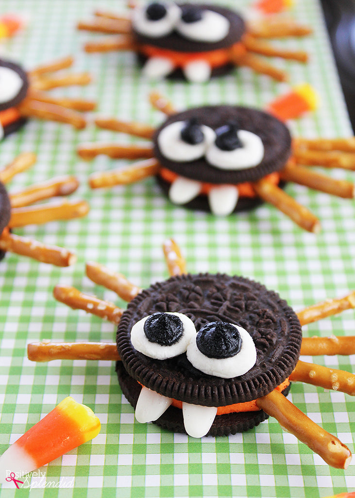 Adorable DIY spider cookies for serving at a Halloween party