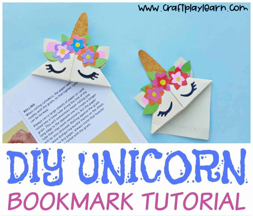 Super cute unicorn craft project ideas to do with the kids while sheltering in place during quarantine diy arts and crafts magical rainbow papercraft origami bookmark book books reading