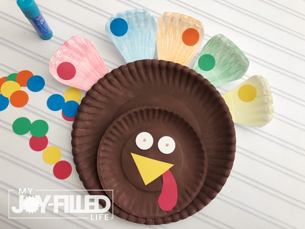 Thanksgiving game decorating paper plates as turkeys to help toddlers and young children learn to sort colors