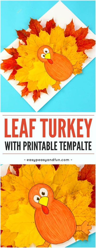 Printable turkey for a children's Thanksgiving project using natural elements like fall colored leaves