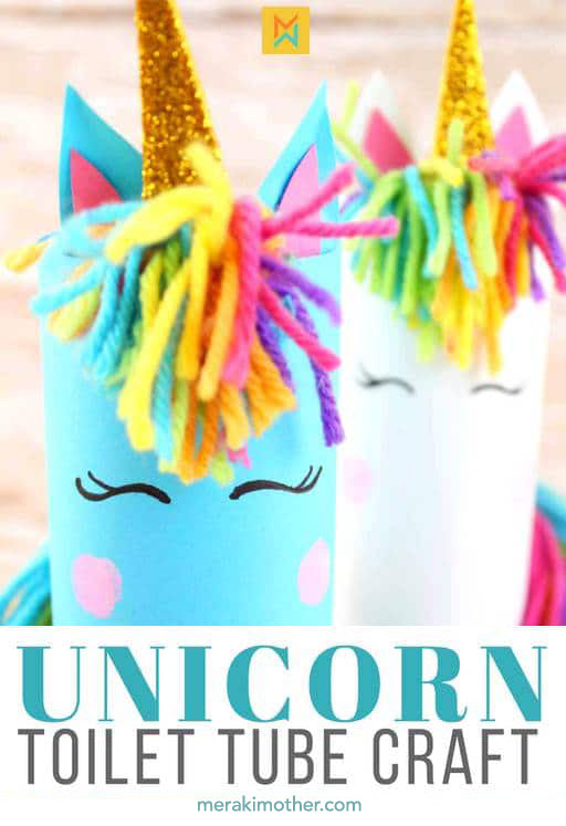 Super cute unicorn craft project ideas to do with the kids while sheltering in place during quarantine diy arts and crafts magical rainbow upcycle recycle paper tube preschool toddlers