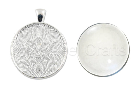 Round Bezel Pendant Tray with Glass Tile Cabochon (12 sets)