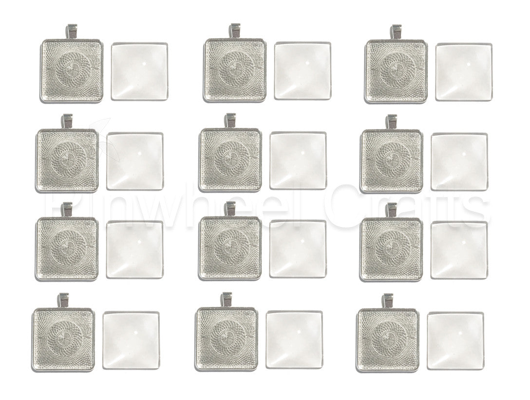 Square Bezel Pendant Tray with Glass Tile Cabochon (12 sets)