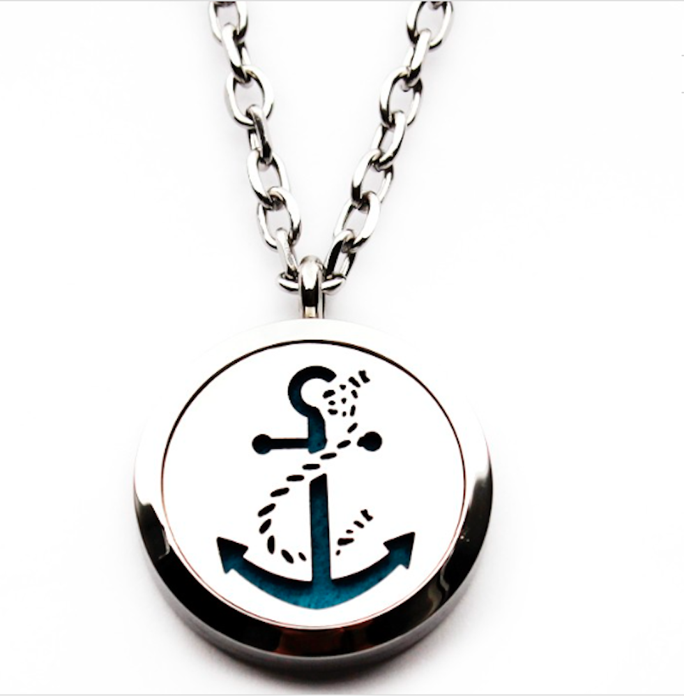Essential oil diffuser necklace anchor aromatherapy pendant essential oil diffuser necklace anchor aromatherapy pendant velvet jewelry bag extra pads aloadofball Image collections