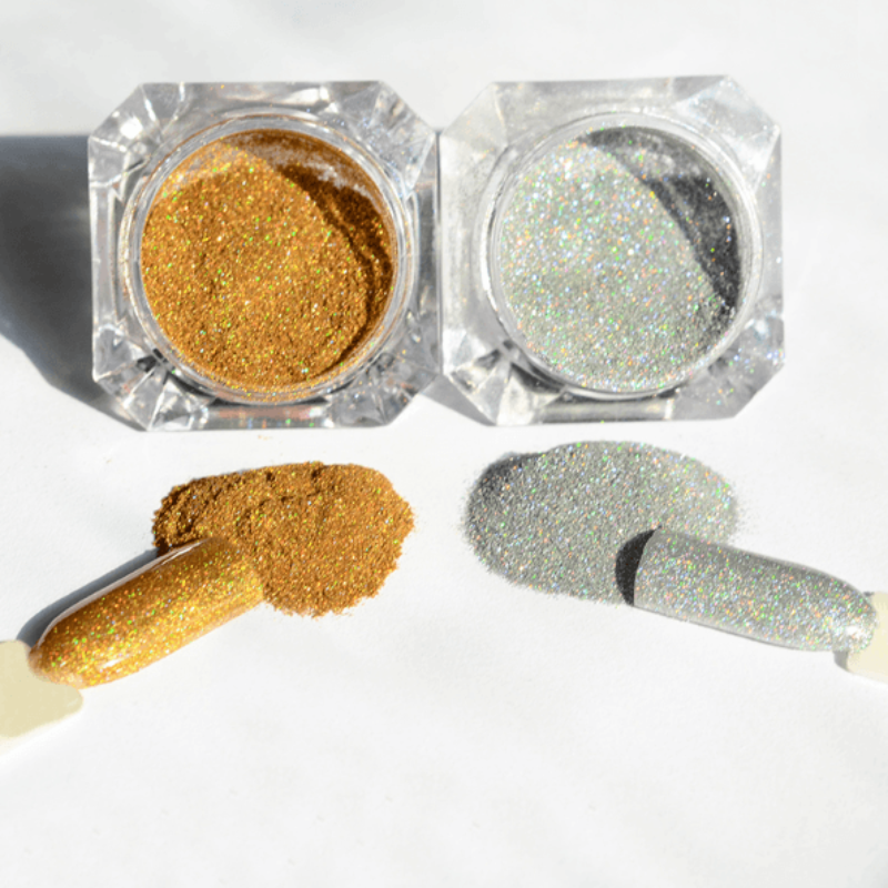 1g/Jar Holographic Nail Glitter Powder Silver Or Gold - The GearBuyz Store