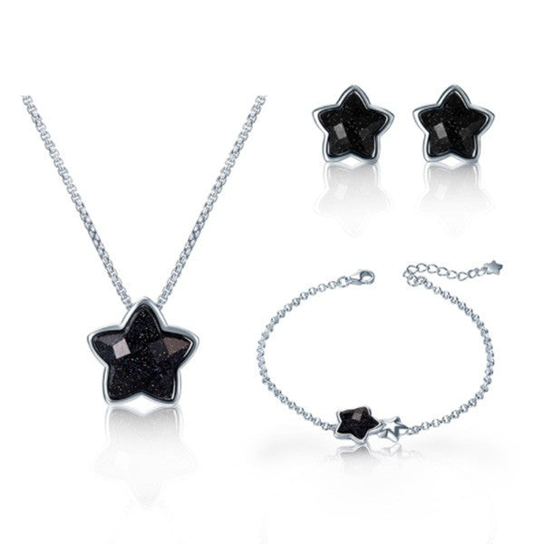 925 Sterling Silver Black Aventurine Star Necklace Set - The GearBuyz Store