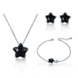 925 Sterling Silver Black Aventurine Star Necklace Set